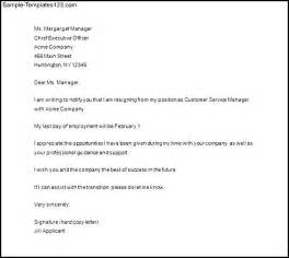Professional Letter Of Resignation Template by Professional Resignation Letter Template Sle Templates