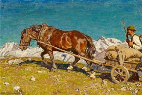 maler junghans bauer mit pferdekarren im hochgebirge julius paul