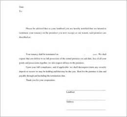 Landlord To Tenant Lease Termination Letter by Sle Termination Letters 9 Landlord Lease Termination Letters In Doc Pdf