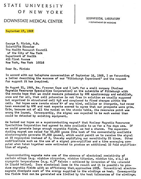 Patient Introduction Letter Inventor Of The Mri Denied The 2003 Nobel Prize In Medicine