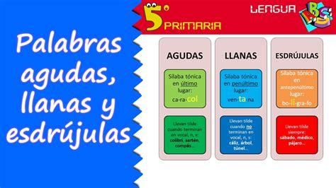 imagenes de palabras agudas con tilde palabras agudas llanas y esdr 250 julas lengua 5 186 primaria