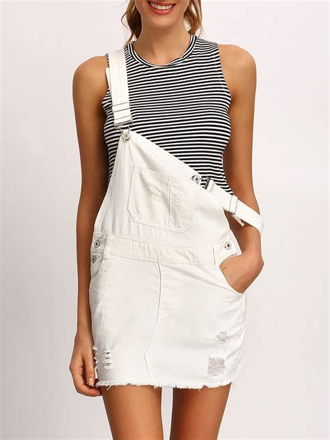 Dress Overall Overall white frayed denim overall dress shein sheinside
