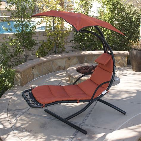Patio Swing Chair by Hanging Chaise Lounge Chair Hammock Swing Canopy Glider