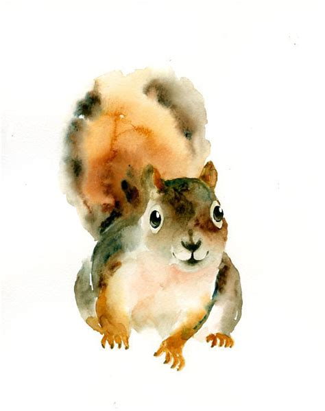 free animal painting squirrel 5x7inch print kid s wall nursery decor
