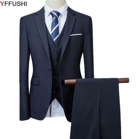 YFFUSHI Men Suit Navy Suits 2018 Latest Coat Pant Design