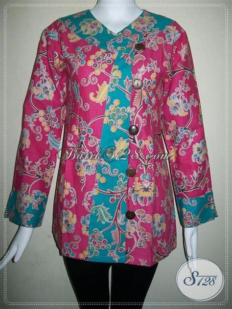 Dress Tosca Muda blus batik wanita paduan warna merah muda dan tosca