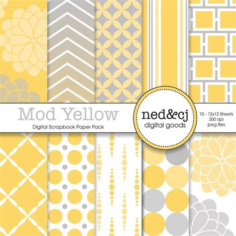 free printable scrapbook paper yellow buy 1 get 1 free digital scrapbook paper pack mod