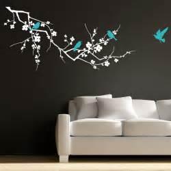 birds on branch tree vinyl wall art sticker decal art birdcage birds tree wall decals wallstickery com