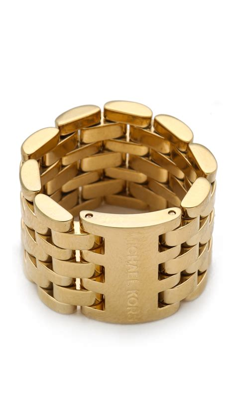 michael kors link ring in gold lyst