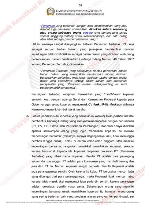 Uu Ri Nomor 40 Tahun 2007 Tentang Perseroan Terbatas putusan sidang mk pembatalan uu koperasi telahucap 28 mei2014