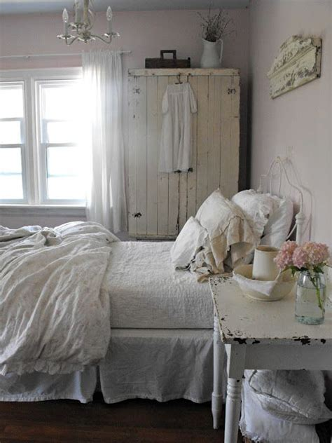 rustic farmhouse bedroom bedroom grey pink white chippy shabby chic whitewashed cottage french country