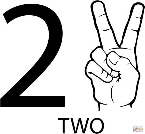 printable asl numbers asl number two coloring page free printable coloring pages