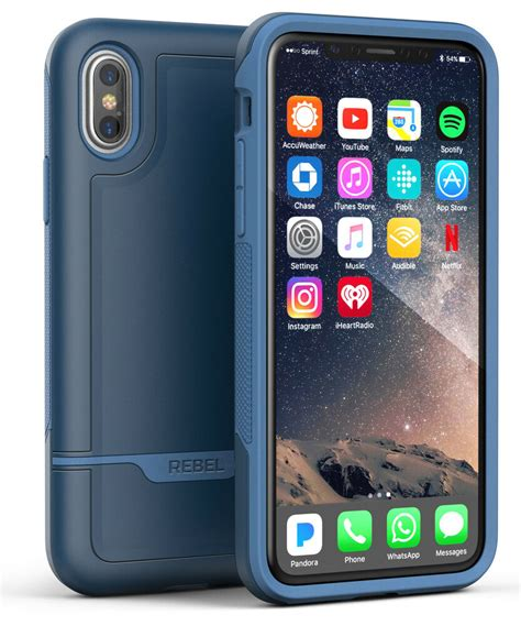 iphone xs max protective case military grade rugged protection rebel blue  ebay