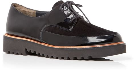 oxford creepers shoes paul green lace up creeper oxford flats in black