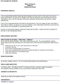 Student CV Example Template   icover.org.uk