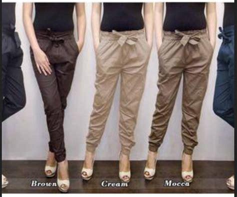 Celana Jogger Cewek Bahan Katun model celana panjang kain wanita terbaru