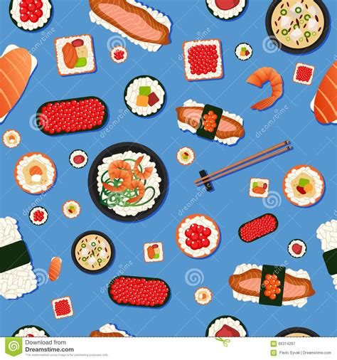 meal pattern of japanese cuisine japanese food seamless pattern with sushi stock vector