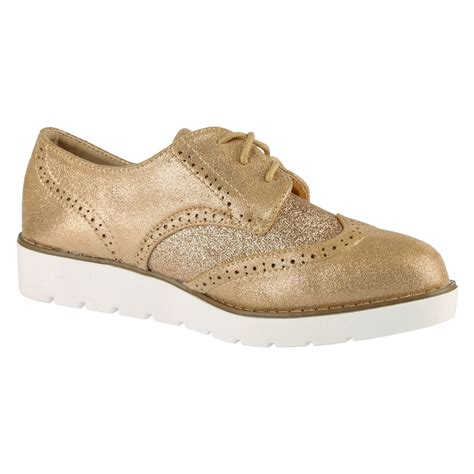 womens oxford lace up shoes womens brogues lace up glitter shimmer two tone