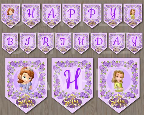 sofia the first happy birthday banner printable disney sofia the first birthday party banner by maryanncolors