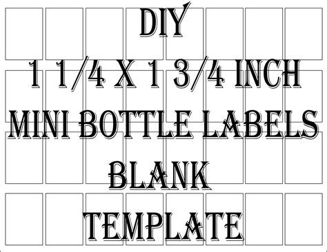 Mini Liquor Bottle Label Template Printable 4 Files 24 Diy 1 Mini Labels Template