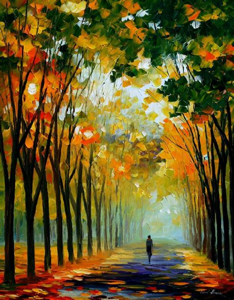 painting work autumn mood palette knife oil painting on canvas by