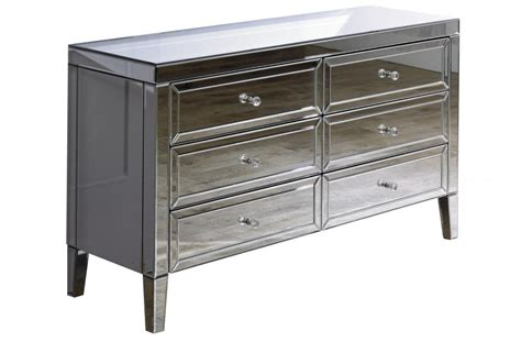 Bedroom Vanity Tables valencia 6 drawer mirrored chest modish furnishing