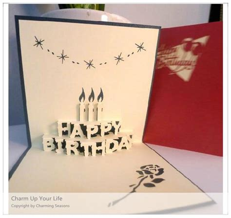 Origami Pop Up Greeting Cards - origami handcrafted 3d greeting card birthday with candles