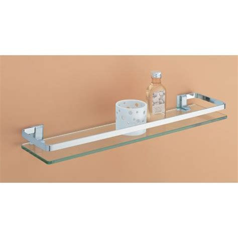 Bathroom Glass Shelves With Rail Glass Shelf With Nickel Rail Organize It All Wall Mounted