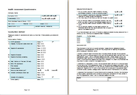 health assessment questionnaire template ms word health assessment forms templates printable