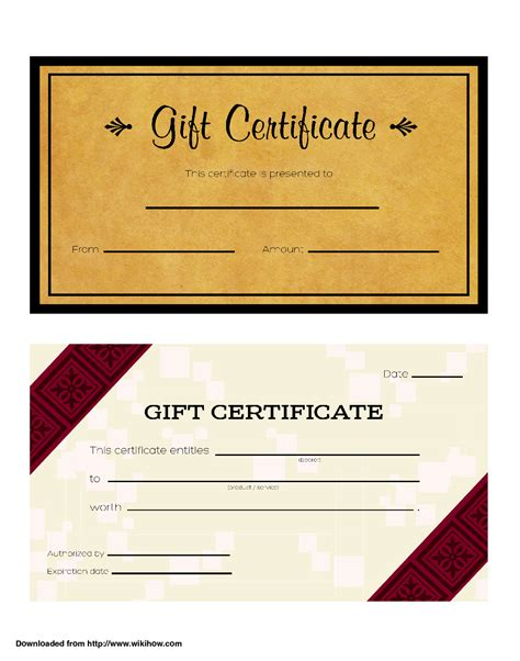 template of gift certificate doc 578248 free gift certificate templates customizable