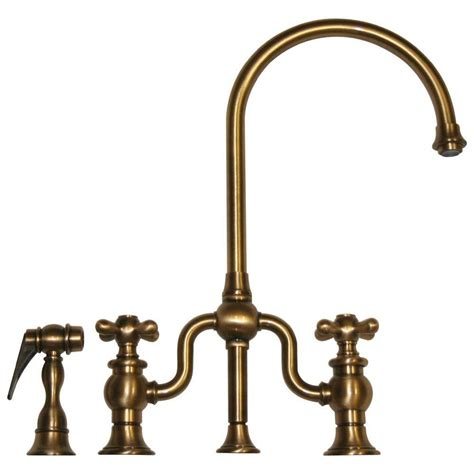 brass kitchen faucets whitehaus collection twisthaus 2 handle bridge kitchen faucet with side spray in antique brass