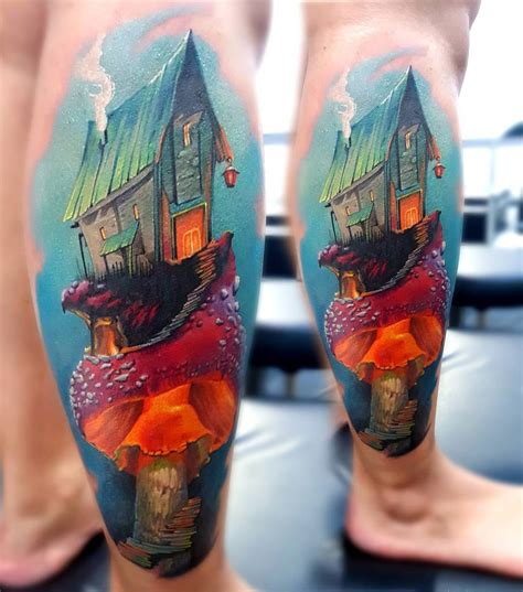 mushroom tattoo designs magical house on a best design ideas
