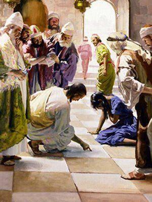 jesus   woman caught  adultery christian art
