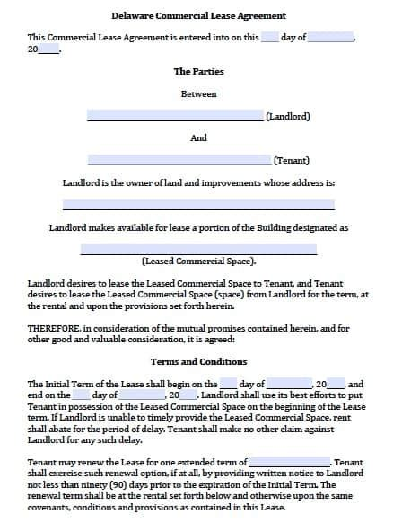 Free Delaware Commercial Lease Agreement Template Pdf Word Building Lease Agreement Template Free