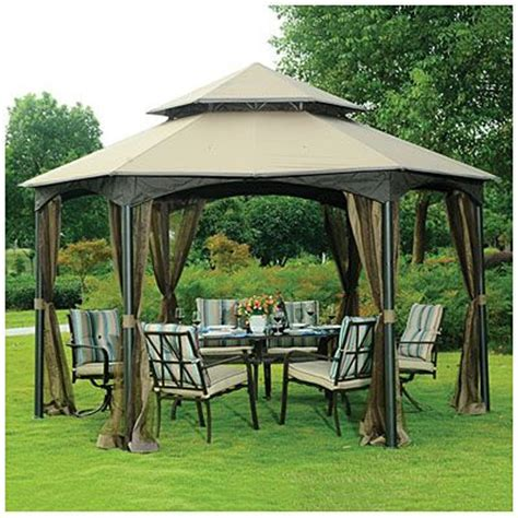 Big Lots Patio Gazebos Wilson Fisher 174 Southbay Hexagon Gazebo With Netting At Big Lots Home Improvements
