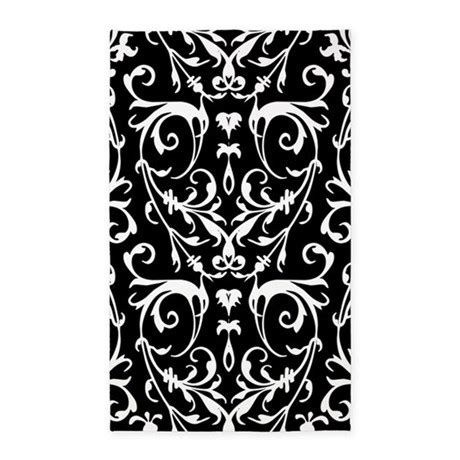 Damask Area Rug Black And White by Black And White Damask Pattern 3 X5 Area Rug By