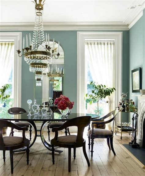 blue dining room walls thick white molding light wood