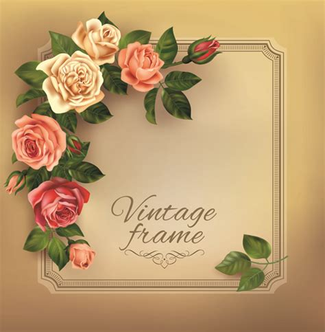 beautiful roses with vintage cards vector material 03