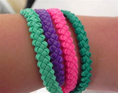 items similar  gimp lace bracelet braided neon purple lace bracelet elastic bangle bracelet