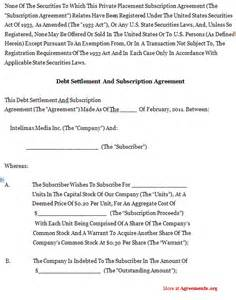 Debt Agreement Sle by Debt Settlement Agreement Template Free Printable Documents