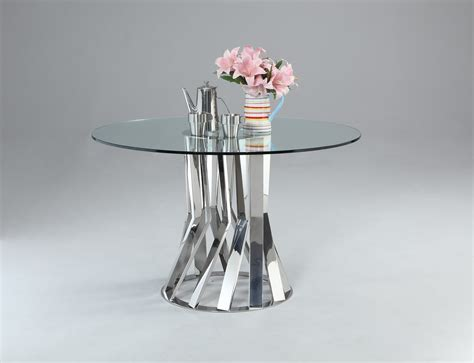 unique dining table bases glass and chrome dining table with unique base