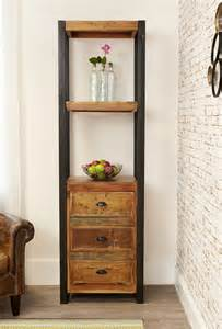 Narrow Bookcase With Drawers Industrial Chic Narrow Bookcase With Drawers Hshire Furniture