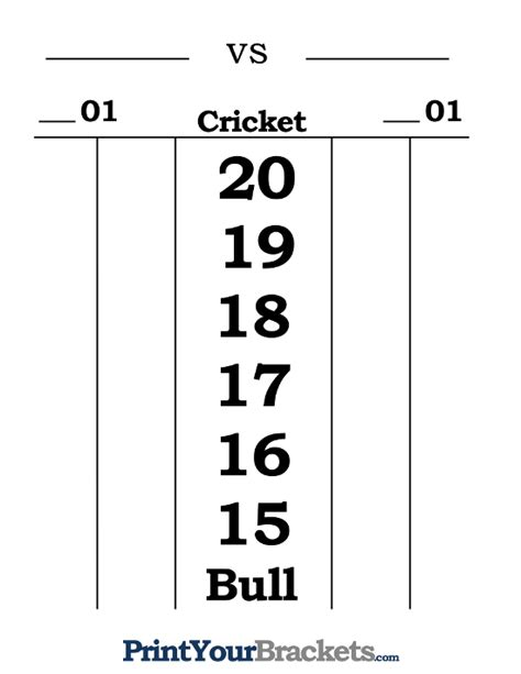Printable Dart Score Sheets