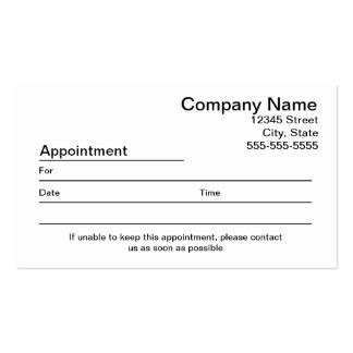 Appointment Reminder Business Card Appointment Reminder Template