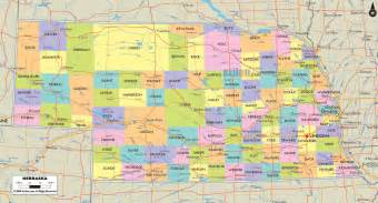 county map with cities and roads political map of nebraska ezilon maps