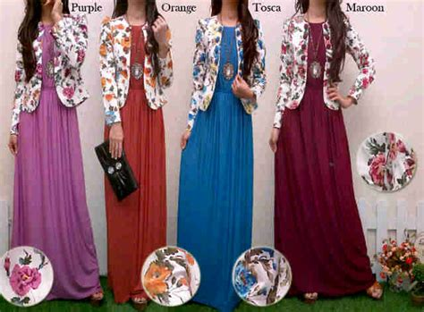 Baju Terusan Wanita Muslim Longdress Evelin Set maxi dress kombinasi blazer bunga rdb 131 dress