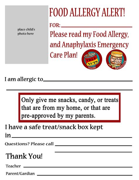 printable allergy alert poster thriving with allergies food allergy alert daycare school