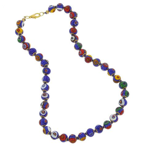 murano glass mosaic necklace blue murano glass necklaces