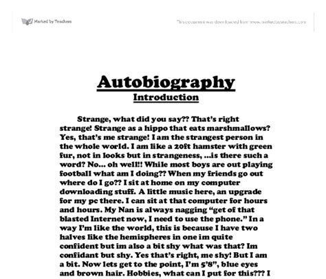 biography and autobiography for middle school autobiography creative writing gcse music marked by