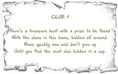 scavenger hunt clue card template indoor treasure hunt clues printable instant by